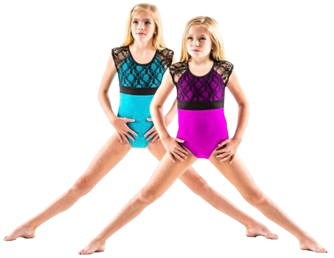 Girls wearing pink and blue ballet dress